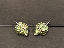 KIRKS FOLLY THOR DRAGON EARRINGS SILVER TONE VERY RARE GREEN DRAGON EARRINGS!