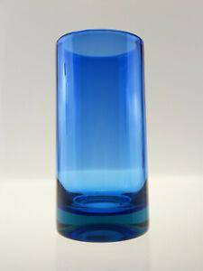 Schwere, zylindrische Sommerso Vase in zwei Blautönen