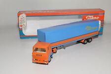 ( TEKNO SCANIA 141 TRUCK WITH LONGTRAILER TRAILER ORANGE BLUE NEAR MINT BOXED