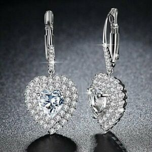 Women's Crystal Heart Leverback Halo Drop Earrings Made with Swarovski Elements