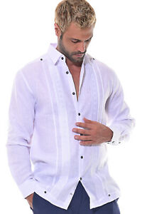 Guayabera Shirt For Men White - Fancy 100% Linen Chacavana Embroidered - MLG1415