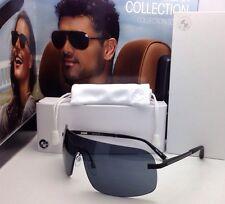 New BMW Sunglasses B6506 90 134 Black Shield Frame w/ Grey w/Carbon Fiber Design