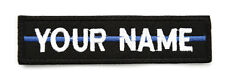 RECTANGULAR CUSTOM EMBROIDERED NAME TAG  Sew on patch Quality Badge  blue line