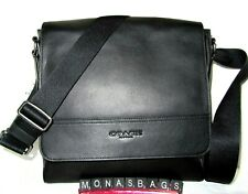 Coach Men's F68015 Houston Map Messenger Bag Black Pebbled Leather New NWT $378