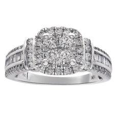 0.90 Carat Diamond Square Shaped Cluster Halo Ring 10K White Gold