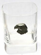 Hawk Head Pewter Emblem Pair of Crystal Glasses Presentation Box Hunting Gift