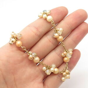 """Carolee Old Stock Retired Faux-Pearl Quartz-Color Bead Rolo Chain Necklace 17"""""""