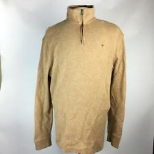 Tommy Hilfiger Beige Solid Pullover Sweaters Long Sleeve 1/4 Zipper Mens Size XL