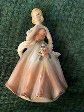 Vintage Napcoware Lady With Flowers Pink Dress Ceramic Planter C-6362 Japan