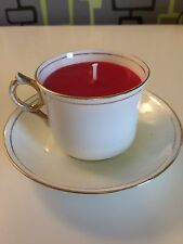 Vintage Teacup candle Rosina Queens China, white  with gold gilt edging, red wax