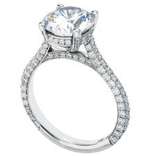 14K White Gold Engagement Ring 2.60ct Near White Round Moissanite Diamond