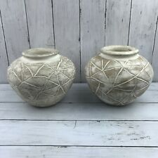 Signature Home Collection Decorative Vase Lot Of 2 Wood White Round Dry Flowers