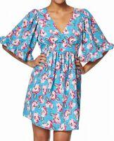 Betsey Johnson Womens Dress Blue Size 2P Petite A-Line V Neck Floral $128 086