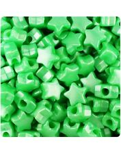 50 Bright Green Pearl Star Shape 13mm Pony Beads Top Quality Pony Beads