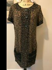 Nomadic Traders Women's Size M Brown/Black Knit Cardigan Sweater Short Sleeve