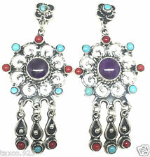 Design Amethyst Turquoise Earrings Mexico Taxco Mexican Sterling Silver Vintage