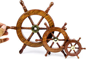 Vintage Ship Steering 3 Wheel Combo Study/Dining Table Decor FatherDay Gift item