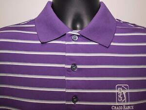 FootJoy Golf Polo Lavender White and Gray Stripes Size Medium Spandex/Polyester