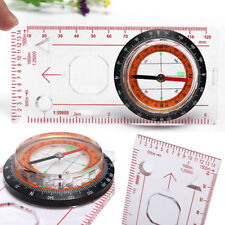 Mini Baseplate Ruler Compass Scouts Hiking Camping Map Scale Navigation Tool