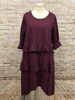 Moonshine Fashion Kleid Tunika Volants Lagenlook Übergröße 48 50 52 bordeau Neu