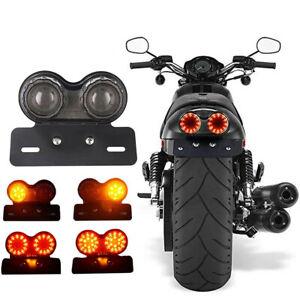 Motorcycle Rear Brake Turn Signal LED License Plate Indicator Light For Harley