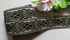 Jacquard Ribbon, 1+3/8 inch wide Black - Gold selling by the yard