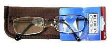 """Foster Grant """"Hal"""" Brown Semi-Rimless Reading Glasses with Soft Case +3.25"""
