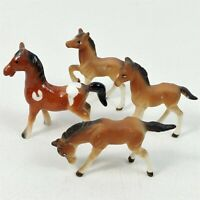 4 Brown & White Porcelain Ceramic Horse Foal Figurines Miniatures