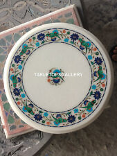 """18"""" White Marble Table Top Mosaic Inlay Floral With Parrot Arts Home Decor H5393"""