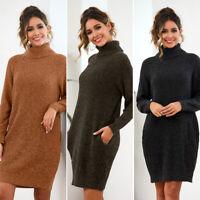 Womens Casual Sweater Dress Long Sleeve Short Skirt Winter Clothing Turtleneck
