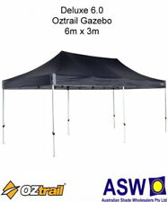 6m x 3m Oztrail Gazebo DELUXE 6.0 BLACK Instant Fold Marquee Pavilion G-OZD6.0