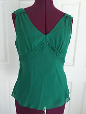 Ann Taylor Green Silk Tank Top Shirt Sz S