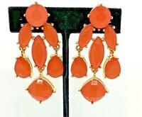 Chandelier Orange Faceted Bead Drop Dangle Goldtone Earrings Hook Bridal Pagent