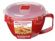 Sistema Red Klip It Microwave Noodle Pasta Soup Bowl 940ml Lunch Snack BPA Free