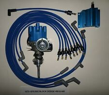 DODGE 440 1973-1978 BLUE Small Female Cap HEI Distributor,COIL, Spark Plug Wires