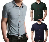 SD50 New Mens Fashion Casual Luxury Dress Slim Fit Short Sleeves Shirts 5 Size