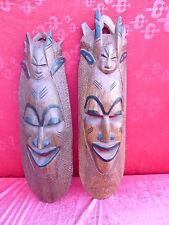 2 bella, vecchio Maschere di legno__Africa__Intagliato , tw.bemalt __70-65cm_