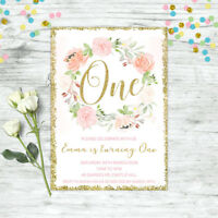FLORAL FIRST 1ST BIRTHDAY INVITATION BLUSH PINK GOLD CONFETTI GIRLS PARTY INVITE