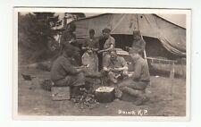 RPPC Vintage Photo Postcard WW1 Men Soldiers Doing K.P. Peeling Potatoes Unpostd