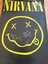 NIRVANA SIGNED POSTER BY 3 COA + PROOF! KRIST NOVOSELIC CHAD CHANNING AARON