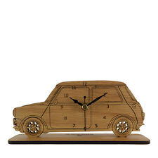 Mini Cooper Side View Wooden Mantel Clock - Made in Cornwall - MC.W.MIS01
