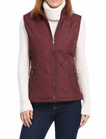 Women's Front Zip Up Stand Collar Mock Pockets Quilted Padded Vest Red L