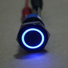 Black Case 19mm ON/OFF BLUE Angel Eye LED 12V Push Button Metal Switch fu