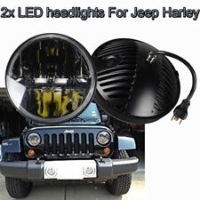 2x 7 inch Round LED HI Lo Headlights DRL Fog Inner Lights 40W For Jeep Wrangler