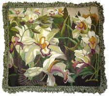 "16"" x 18"" Handmade Wool Needlepoint Ivory Pink Iris Pillow with Green Tassels"