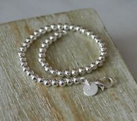925 Stamped Sterling Silver Plated Beaded 4mm Ball Bracelet