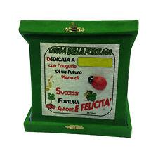 NUOVA ATTIVITA' targa portafortuna coccinella personalizzabile verde 14x14 cm
