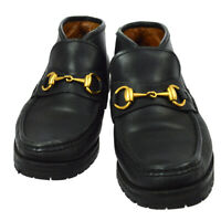 Authentic GUCCI Horsebit Shoes Loafers Black Leather #B 5 Vintage AK31239