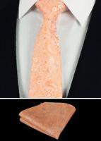 R1 108 Mens Peach paisley Jacquard Silk Men Ties Necktie handkerchief Wedding