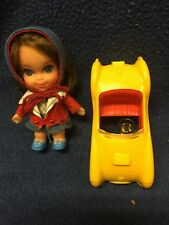 Mattel Vintage Babe Biddle with Doll, Yellow Sports Car, Bonnet and Blue Shoes